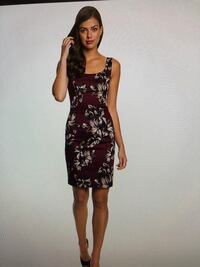 Tropical Print Cotton Sateen Fitted Dress, Burgundy/Oyster, Size L Vaughan, L4L 4C2