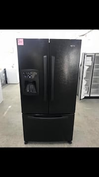 All black french door refrigerator Amana with ice maker and water dispenser  Warren, 48089