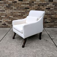 Designer ivory wool boucle sleigh arm chair Chicago, 60626