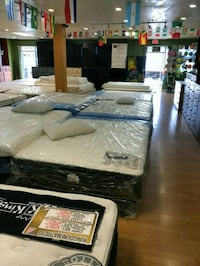 white and black mattress lot