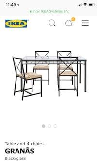 Ikea granas glass table and 4 black chairs!  Toronto, M4J 2J8
