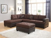 brown leather sectional sofa with ottoman Silver Spring, 20902