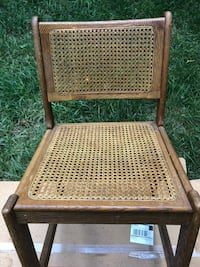 Vintage Solid Wood Cane Back Chair