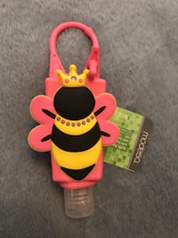 New Queen Bee holder with Peach Antibacterial Gel, travel size Sterling, 20164