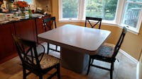 rectangular brown wooden table with four chairs dining set RANDOLPH