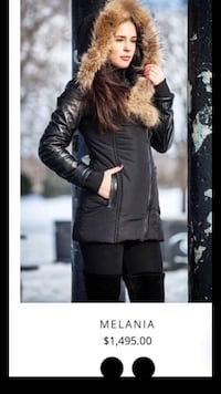 REAL LEATHER FUR BLACK WINTER JACKET- MANTEAU D'HIVER VRAI CUIR FOURRURE- SIZE SMALL 787 km