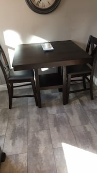 Rectangular brown wooden table with four chairs dining set 776 km