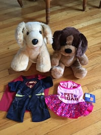 NEW BUILD-A-BEAR dogs/puppies with 2 new outfits. Lighter one sings Happy Birthday! Buffalo, 14224