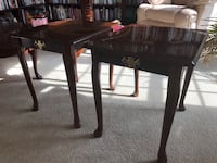 2 Mahogany Queen Anne End Tables w Brass Accents - Very Good Condition  Haymarket, 20169