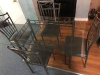 Glass table top with chairs