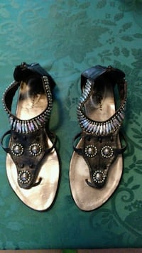 Ladies sandals, Black with Multi-Color Beads