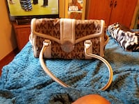 brown and white leather tote bag BELTSVILLE