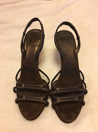 Donna Karan Couture Collection brown metallic suede strappy shoes size 6 585 km