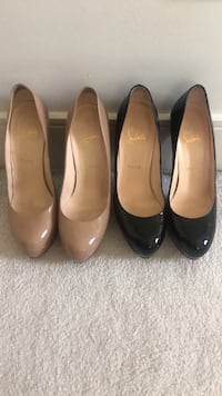 Christian Louboutins Black and Tan patent pumps  Vancouver, V6R