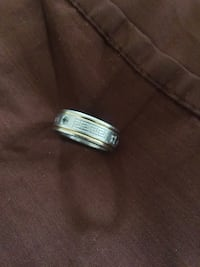 Versace Engraved Ring Silver & Gold