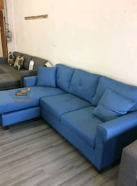 Brand New Blue Linen Sectional Sofa Couch
