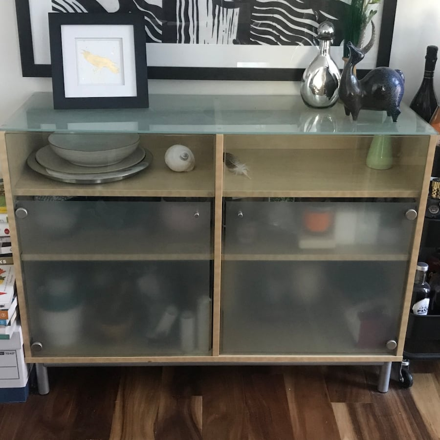 Now or never IKEA glass and beech sideboard cabinet Besta 538779cd-b943-4fea-bc8a-5fbb40063e4b