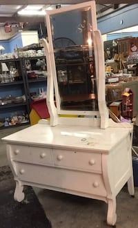 Vintage Vanity Dresser with Mirror and Drawers on Wheels Rome, 30165