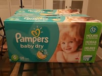 Diapers size 6 - pampers baby dry 128ct