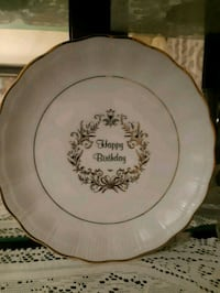 Happy birthday gold trim plate Toronto, M1B 2Z6