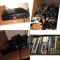 Black xbox 360 console with controllers and game cases Clovis, 88101
