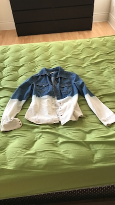 blue and grey denim button up jacket