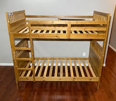 Brown Solid Wood Twin Size Double Bunk Bed w/ Ladder & Side Rails