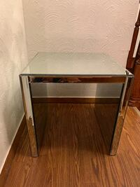 Glass Mirror Side Table