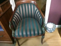 brown wooden framed blue and green padded armchair Bonifay, 32425