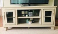 "60"" antique white solid wood TV stand"