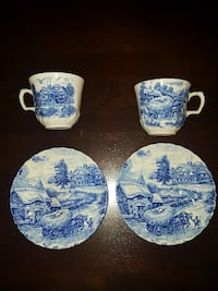 Ridgway Ironstone Hayride Cups and Saucers- 2 Sets