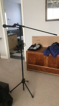 black microphone stand