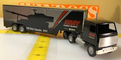 BMY Combat Systems Semi Tractor Trailer, Winross 1/64 Die Cast Truck