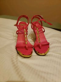 pink leather  open-toe wedges sandals Surrey, V3R 0T1