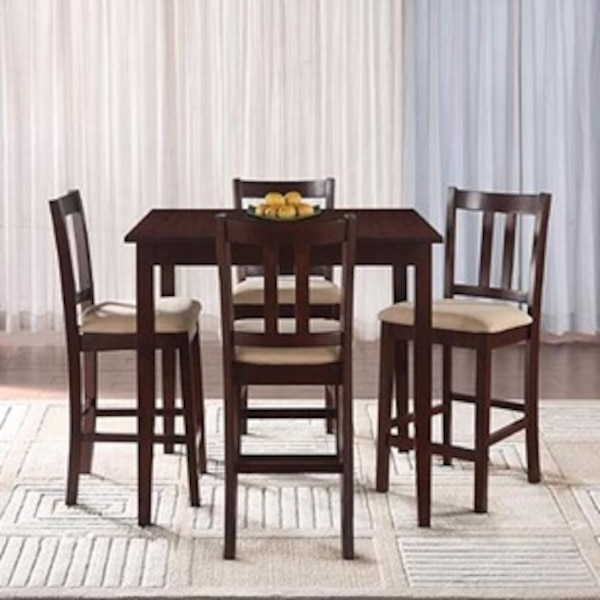 4 Person Counter Height Dining Table And Upholstered Chairs Usag Vendre New York