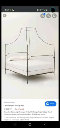 """Anthropologie """"Italian Campaign"""" Canopy Queen Bed Frame Chantilly, 20151"""