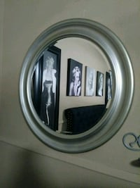 gray and black wooden framed mirror