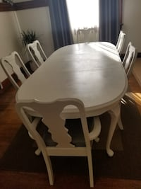 White dining table with six chairs  REDLANDS
