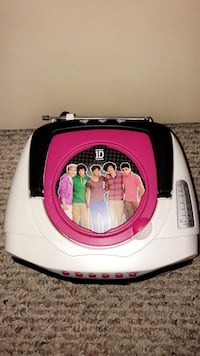 white,black,and pink 1D boombox with CD player