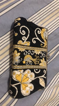 Black and brown floral leather wallet