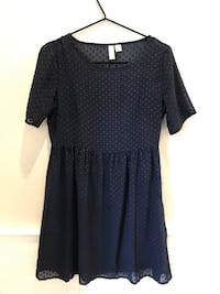 Forever 21 Navy Blue Sheer Dress with Polka Dots and under-slip