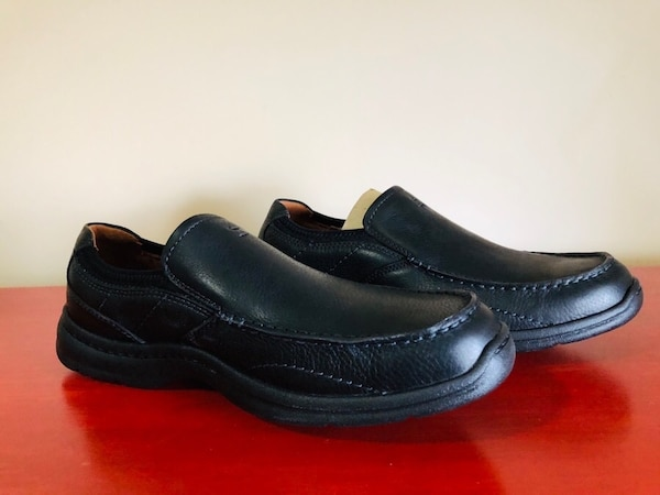 Brand New Clarks Men's Size 10W Niland Energy Black Leather Slip-on Loafer