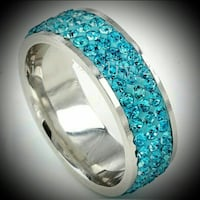 Gorgeous SS aquamarine band