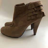 pair of brown suede chunky heeled booties Toronto, M4E 0A1