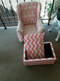 brown wooden framed pink and white chevron padded armchair 2345 mi