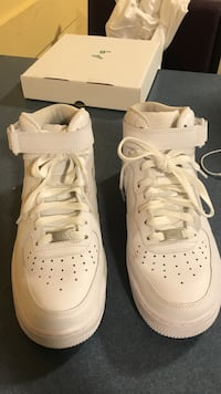 pair of white Nike Air Force 1 high-top shoes with box Ottawa, K1S 5B7