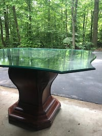 Carved Bombay dining table with glass top Woodbridge, 22193