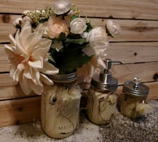 Distressed ball jars set of 3 in yellow
