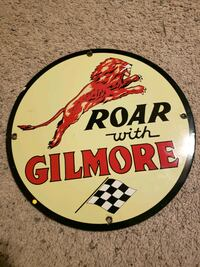Gilmore Gasoline Porcelain Sign  Kerman, 93630