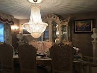 Chandelier and Italian hand painted dining room set table and China cabinet Pittston, 18640